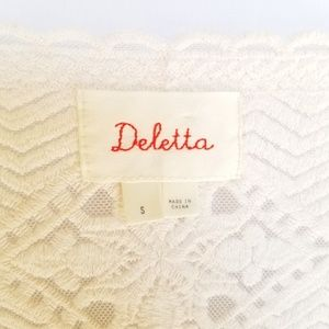 Deletta Tops - Deletta White Lace Embroidered Blouse Mesh Small
